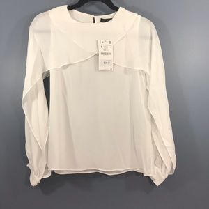 NWT Zara Basics Open Sleeved Cream Blouse Size sm